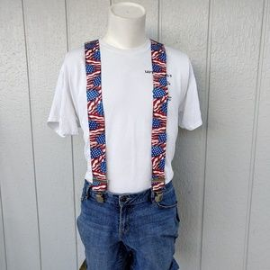 Hold Up Patriot American Flag Suspenders EUC!